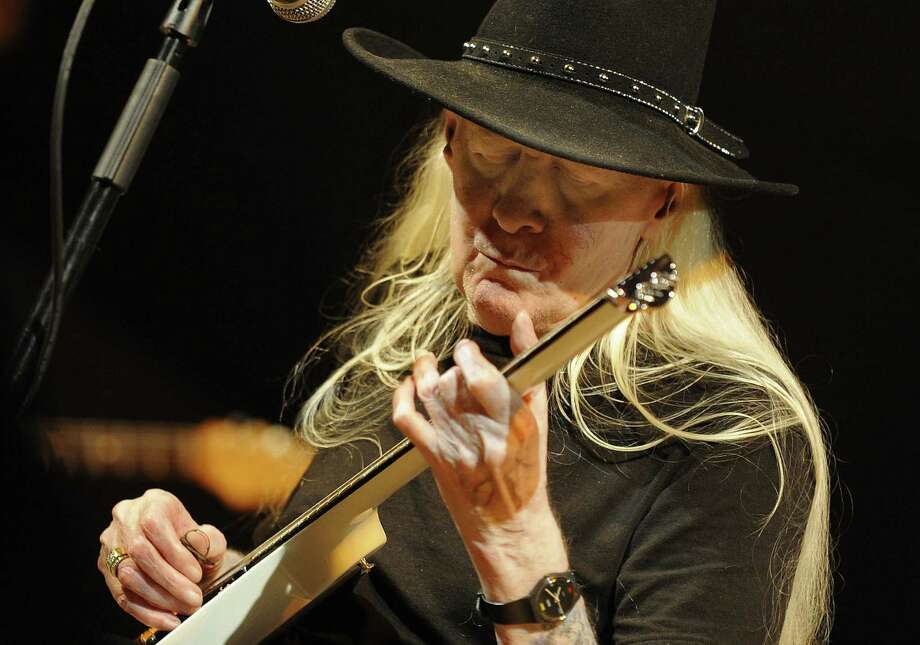 Blues guitarist Johnny Winter performs during an international jazz festival in 2008. Photo: Diego Tuson / Getty Images / AFP