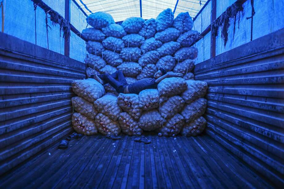 Bloomberg Photo Service 'Best of the Week': A worker takes a nap while lying on sacks of onions on a truck at the Vashi Agricultural Produce Market Committee (APMC) wholesale market in Mumbai, India, on Saturday, July 12, 2014. Prime Minister Narendra Modi's administration increased subsidized grain supplies and set stockpile limits this month to prevent hoarding of onions and potatoes and so curb price gains amid a weak monsoon. Photographer: Dhiraj Singh/Bloomberg Photo: Dhiraj Singh, Bloomberg