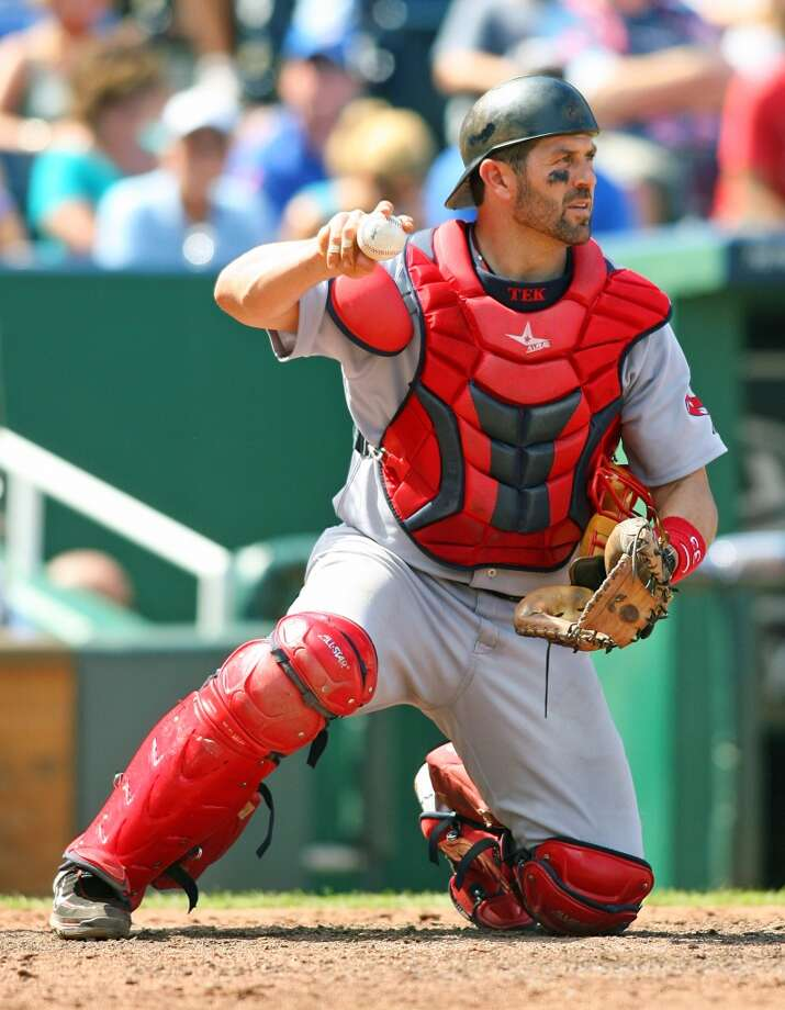 Jason Varitek: drafted by Minnesota Twins in 1st round (21st overall) in 1993 but did not sign.  Varitek was again taken in the first round in 1994, 14th overall by the Seattle Mariners this time, and went on to have a 15-year career in the major leagues. He was a three-time All-Star, won a Gold Glove and Silver Slugger Award, and won a pair of World Series with the Boston Red Sox. Photo: Tim Umphrey, Getty Images