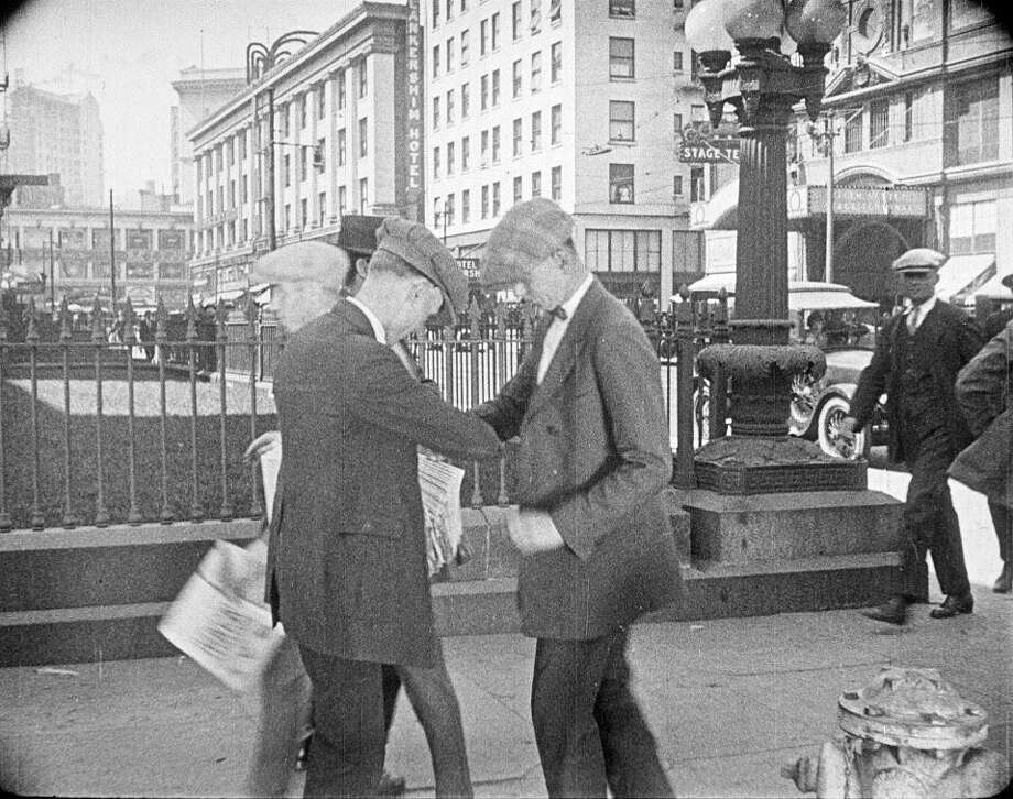The 1925 silent film 'The Last Edition' is set in S.F., including this scene in front of the Old Mint. Photo: S.F. Silent Film Festival, EYE Film Institute Netherlands