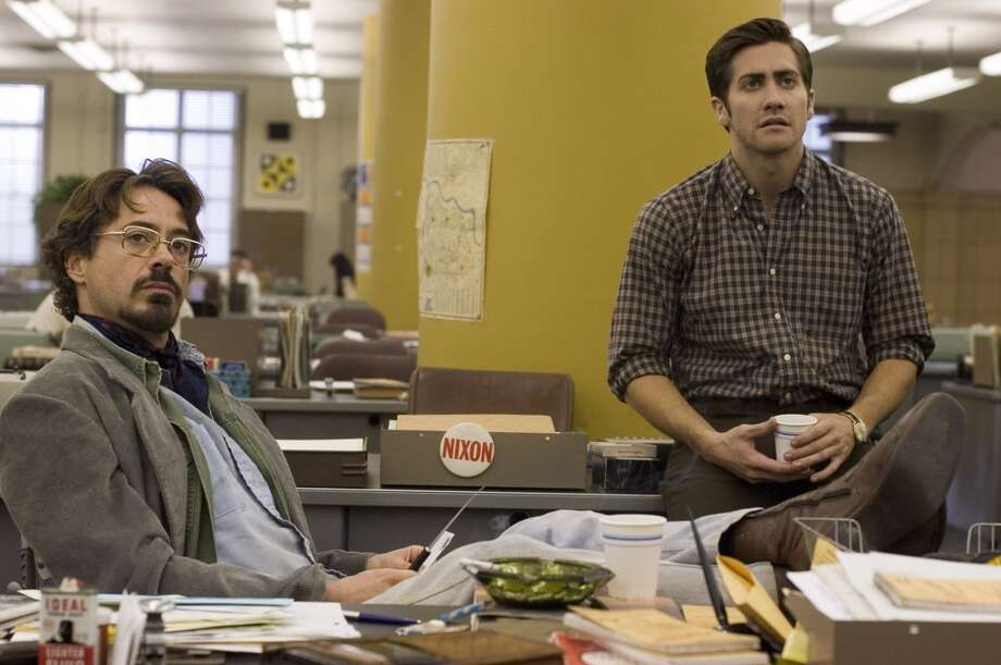 Robert Downey Jr. and Jake Gyllenhaal star in 'Zodiac.' The film's crew spent about 20 days filming in the Bay Area, including in and around Fifth and Mission Chronicle building. Photo: Merrick Morton, AP