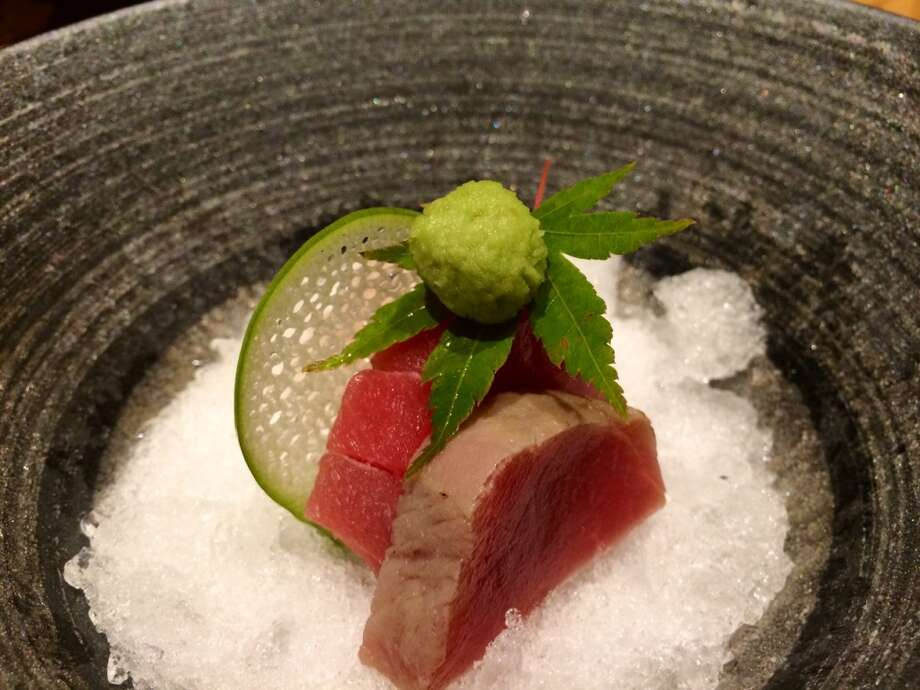 Kusakabe: Sashimi served on shaved ice, part of the $95 kaiseki sushi menu