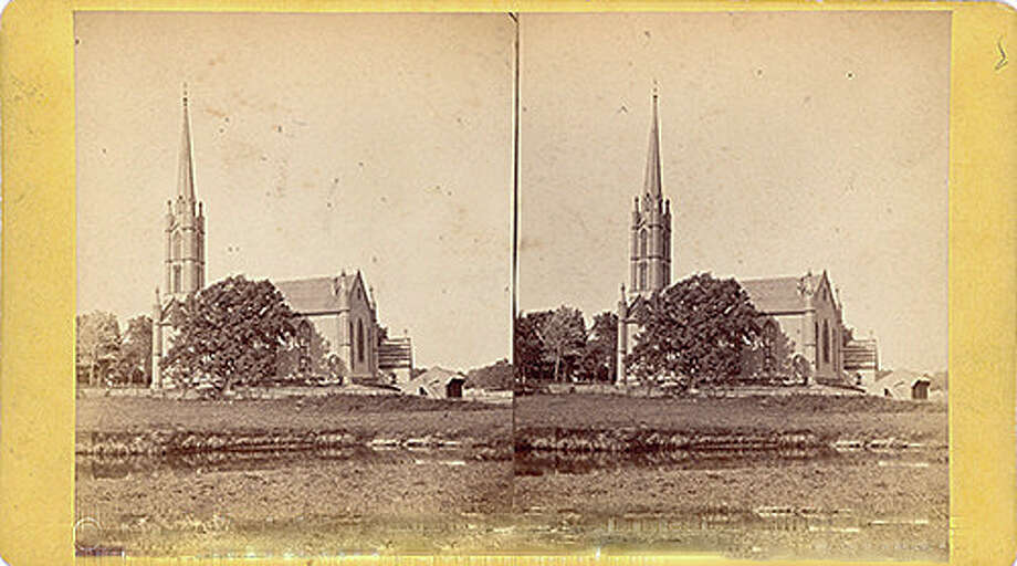 This antique photo of Trinity Chruch in Southport is a stereogram, viewed through a wooden device that gave the photo a 3-D effect. Courtesy: Fairfield Museum and History Center Photo: Contributed Photo / Fairfield Citizen