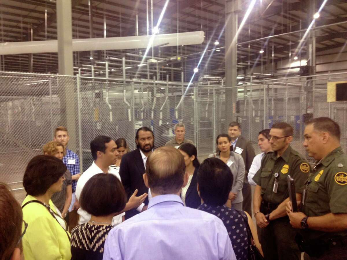 U.S. Rep. Joaquin Castro, D-San Antonio, and eight other members of Congress visited U.S. Customs and Border Protection facilities in McAllen on Friday to see conditions for Central American immigrants behind held there.