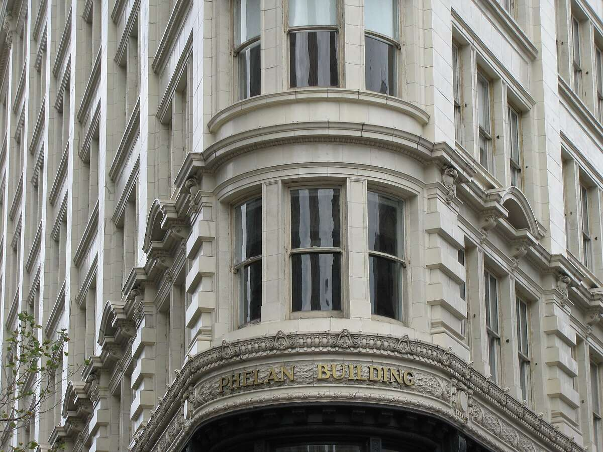 """The Phelan Building at 760 Market is one of San Francisco's most distinctive """"flatirons"""" -- buildings designed to fill the triangular lots created by the collision of straight and diagonal streets, in this case Market and O'Farrell. It opened in 1908; the architect was William Curlett."""