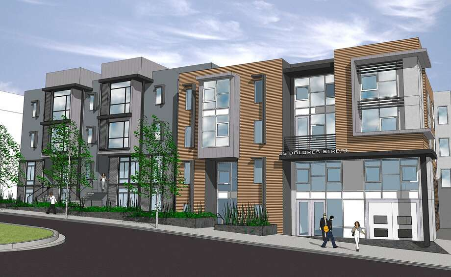 The 37-unit condominium complex at 35 Dolores St. now under construction, set to be completed this fall. Lightner Property Group is the developer, and the architect is Levy Design Partners. Photo: Levy Design Partners