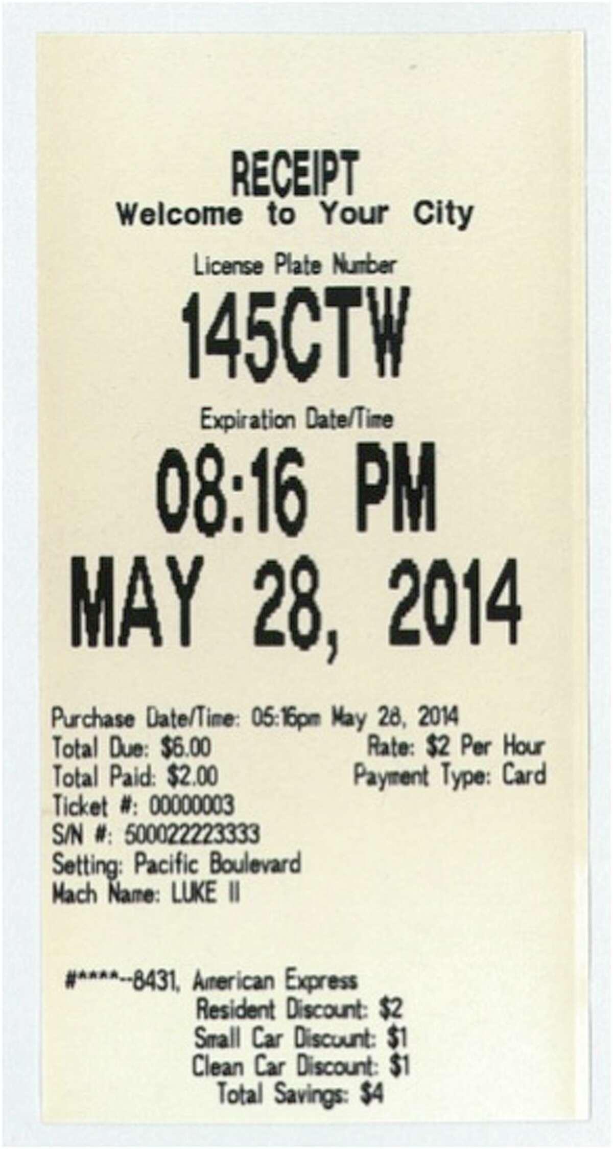 A screenshot of a discount parking receipt.