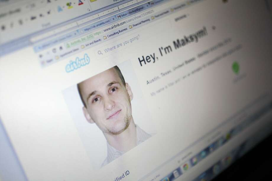 A computer screen shows Maksym Pashanin's Airbnb profile before he and his brother rented the condo. Photo: Leah Millis, The Chronicle