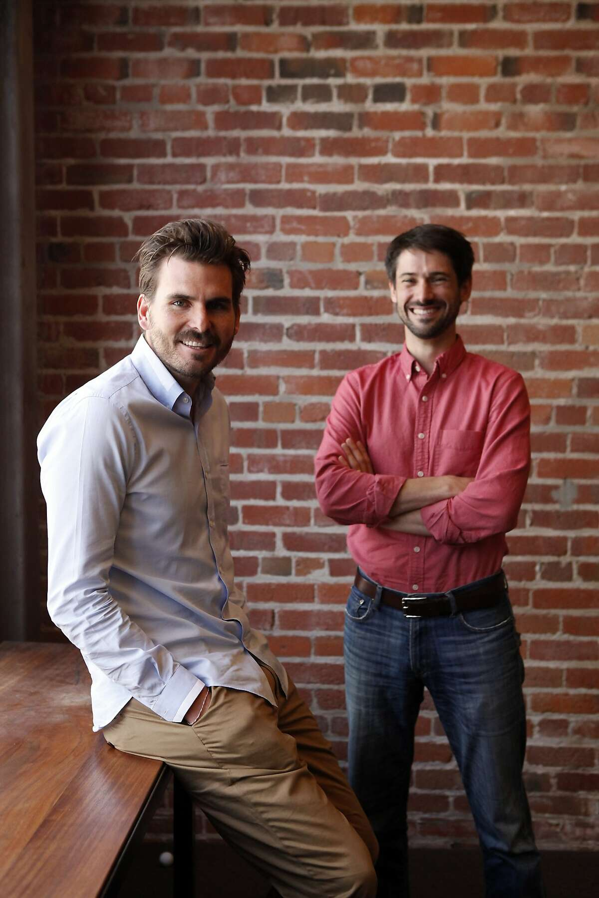 President James Windon, left, and CEO Matt Mahan pose for a portrait at Brigade, a new start-up that?•s being touted as a way to engage young voters in politics by making it more like a social media experience, at their offices in San Francisco, CA, Tuesday, July 15, 2014.