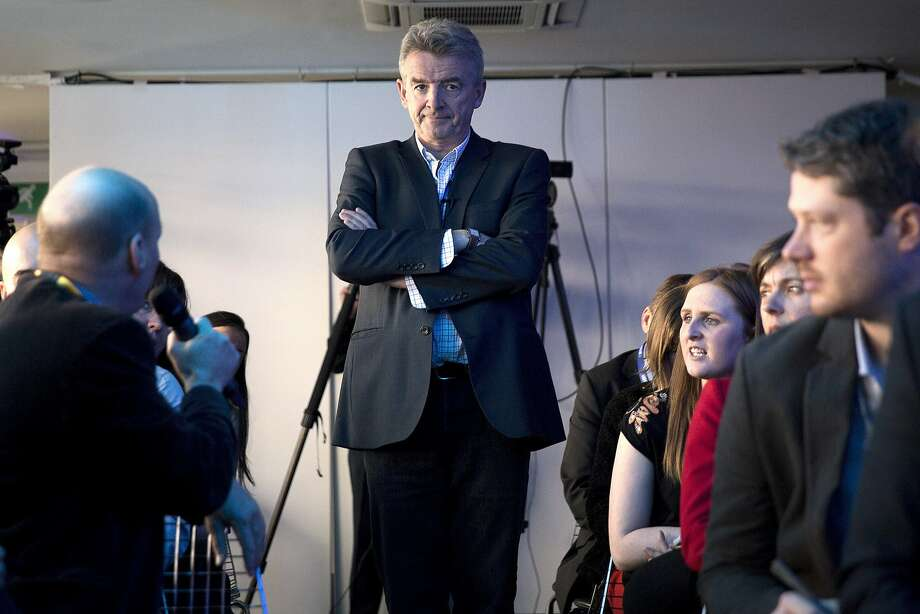Ryanair Holdings Chief Executive Officer Michael O'Leary (center) is among the triumvirate who are leading the way when it comes to swearing. Photo: Simon Dawson, Bloomberg