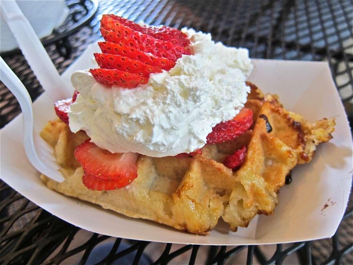 Seabrook Waffle Company Cuisine: American Dish:Waffle with strawberries and whipped cream Entree price range: $ Where: 1402 Fifth, Seabrook Phone: 281-291-8186 Website: seabrookwafflecompany.com