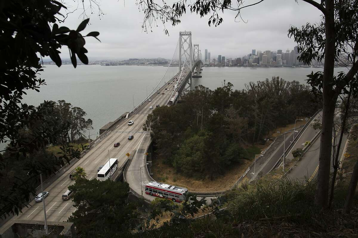Bus 108 enters the Bay Bridge on Treasure Island, Calif. on Friday, July 18, 2014. By 2018, when new houses are expected to be built on Treasure Island, transportation services will increase, including a ferry to San Francisco run by the Water Emergency Transit Authority.