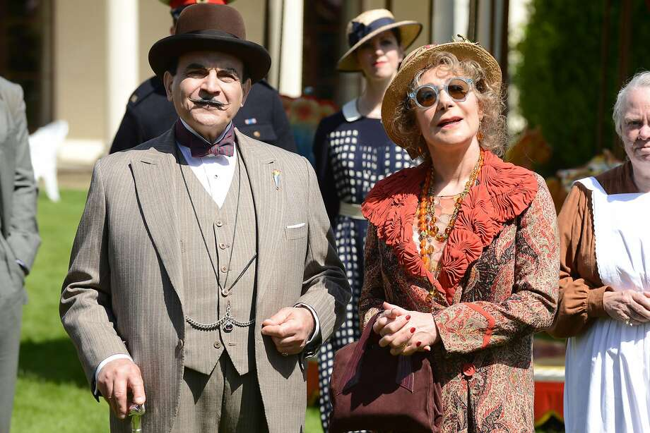 "Zoe Wanamaker as Ariadne Oliver joins David Suchet as Hercule Poirot in Agatha Christie's ""Dead Man's Folly."" Photo: ITV For Masterpiece, PBS"