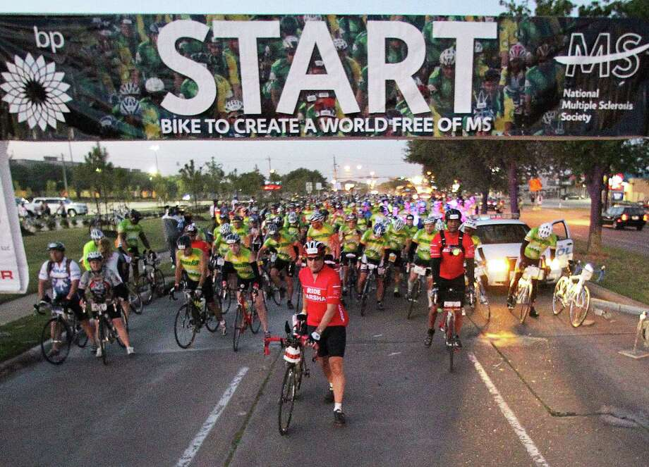 The BP MS150 charity bicycle ride (the start of the 2011 event is shown here) raises millions of dollars for multiple sclerosis research.    ( James Nielsen / Houston Chronicle ) Photo: James Nielsen, Staff / Houston Chronicle
