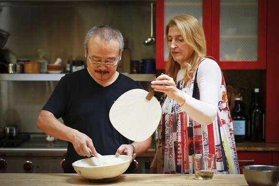 Hiro Sone and Lissa Doumani of Terra in St. Helena and Ame in San Francisco are seen in their Calistoga, Calif., home making sushi on Monday, June 30, 2014.