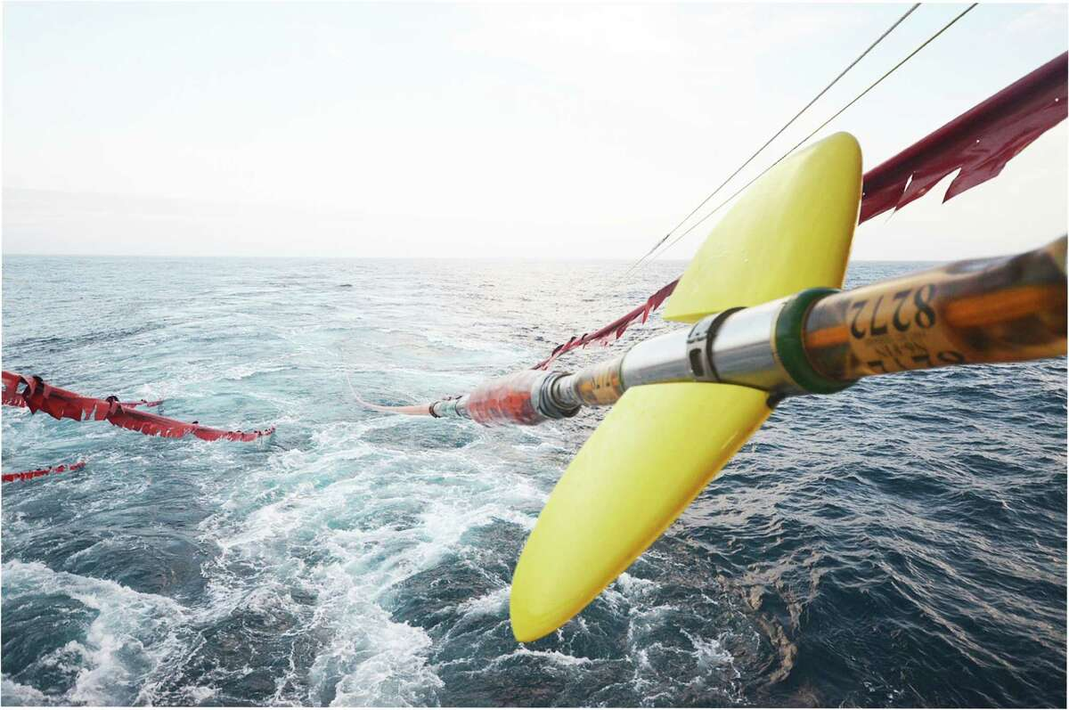 The Interior Department has opened some Atlantic waters to marine seismic testing, a key oil exploration technology in which vessels drag sensors that pick up echoes from air gun blasts sent into the seabed. (WesternGeco photo)
