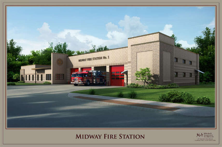 A rendering of the proposed new Midway Fire Department firehouse.