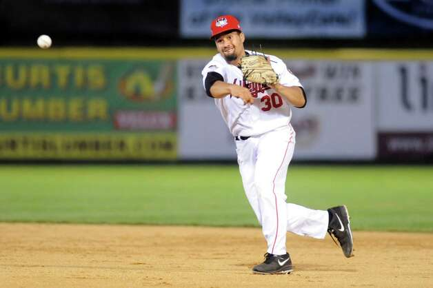 ValleyCats' second baseman Nick Tanielu makes the play to first during their baseball game against the Aberdeen IronBirds on Friday, July 18, 2014, at Joe Bruno Stadium in Troy, N.Y. (Cindy Schultz / Times Union) Photo: Cindy Schultz / 00027799A