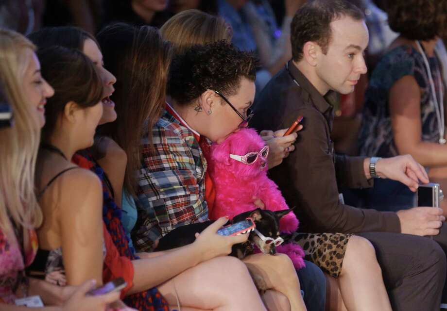 A woman holds a dog dyed in the color pink during a runway show for Frankie's Bikinis during the Mercedes-Benz Fashion Week Swim show, Friday, July 18, 2014, in Miami Beach, Fla. Photo: Lynne Sladky, AP / AP