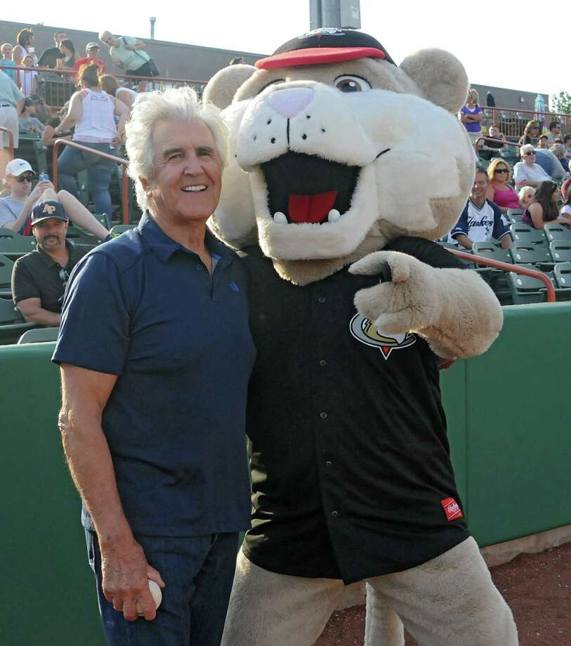 Former senate majority leader Joe Bruno stands with mascot Southpaw before throwing out the first pitch at the Tri-City ValleyCats baseball game against the Vermont Lake Monsters at the Joe Bruno Stadium Monday, June 23, 2014 in Troy, N.Y.  (Lori Van Buren / Times Union) ORG XMIT: MER2014062321554578 Photo: Lori Van Buren / 00027454A
