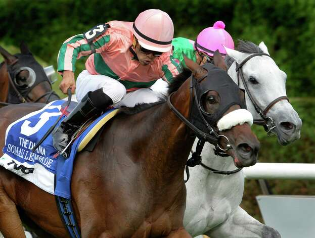 #3 Somali Lemonade with jockey Luis Saez in the saddle wins the 76th running of The TVG Diana Saturday afternoon July 19, 2014 at the Saratoga Race Course in Saratoga Springs, N.Y.     (Skip Dickstein / Times Union) Photo: SKIP DICKSTEIN