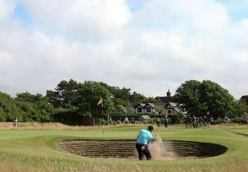 Sergio Garcia of Spain plays out of the bunker onto the 7th green during the final round of the British Open Golf championship at the Royal Liverpool golf club, Hoylake, England, Sunday July 20, 2014. (AP Photo/Scott Heppell) Photo: Scott Heppell, Associated Press / AP
