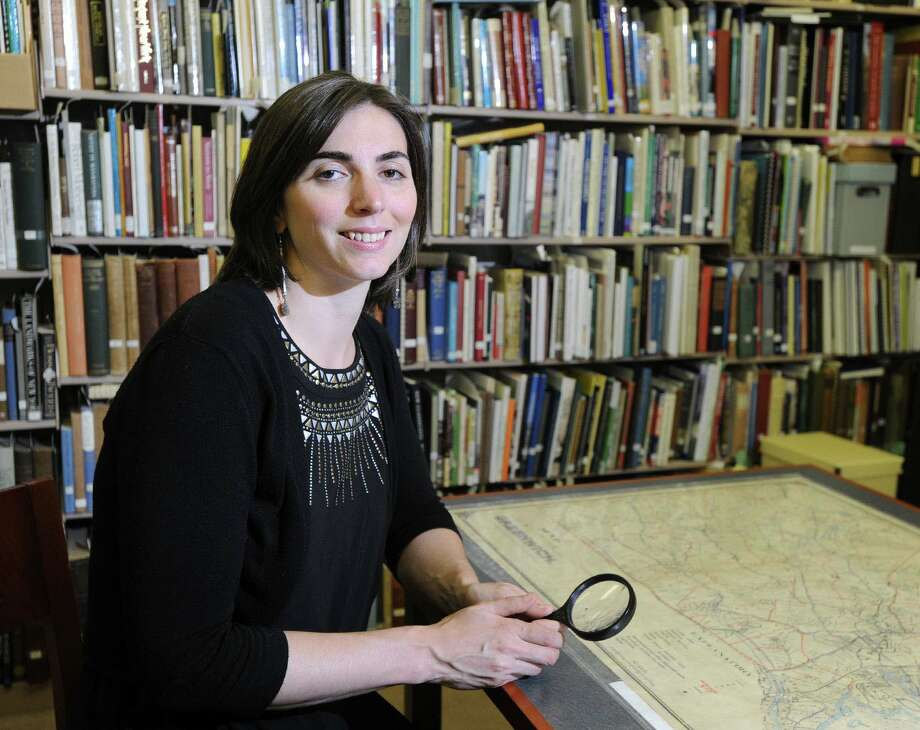 Greenwich Historical Society Curator of Education, Anna Marie Greco, at the society's archives in the Cos Cob section of Greenwich, Conn., Friday, July 18, 2014. Photo: Bob Luckey / Greenwich Time