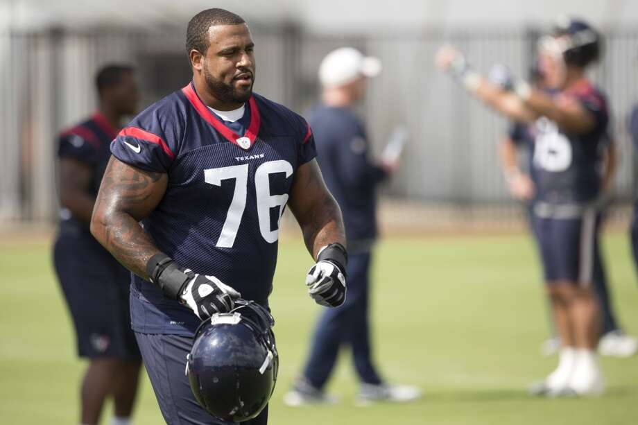 Duane Brown - Starting left tackleAnalysis:The anchor of the Texans' offensive line is coming off an unfulfilling 2013. Brown has earned back-to-back Pro Bowl selections and was a 2012 All Pro. But he wasn't his normal rock-like self last season, playing through a foot injury while sometimes appearing out of rhythm. He added weight this offseason and enters training camp primed for a rebound. Photo: Brett Coomer, Houston Chronicle