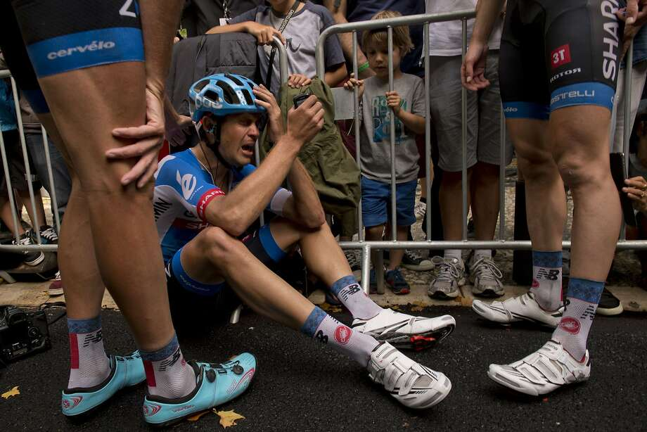 TOPSHOTS New Zealand's Jack Bauer cries after crossing the finish line at the end of the 222 km fifteenth stage of the 101st edition of the Tour de France cycling race on July 20, 2014 between Tallard and Nimes, southern France. Norway's Alexander Kristoff won the stage.  AFP PHOTO / JEFF PACHOUDJEFF PACHOUD/AFP/Getty Images Photo: Jeff Pachoud, AFP/Getty Images