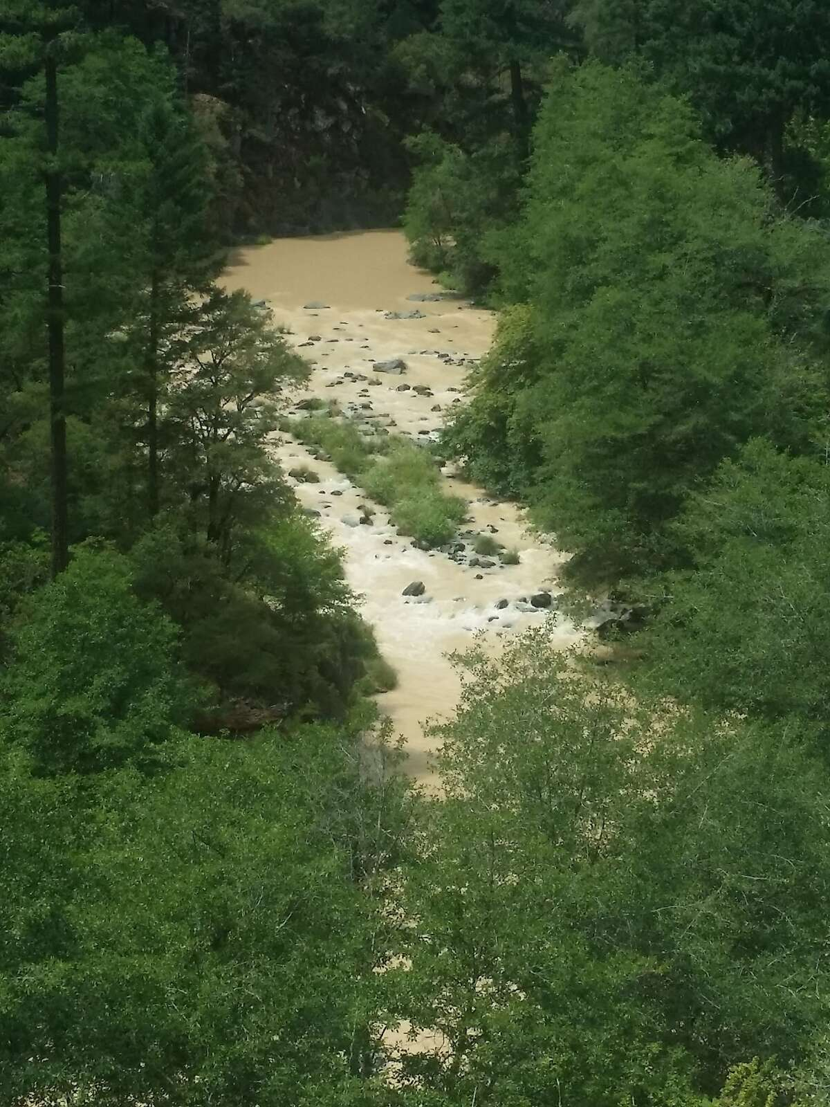 The McCloud River has turned into a churning river of mud because of melt from Konwakiton Glacier on Mount Shasta.