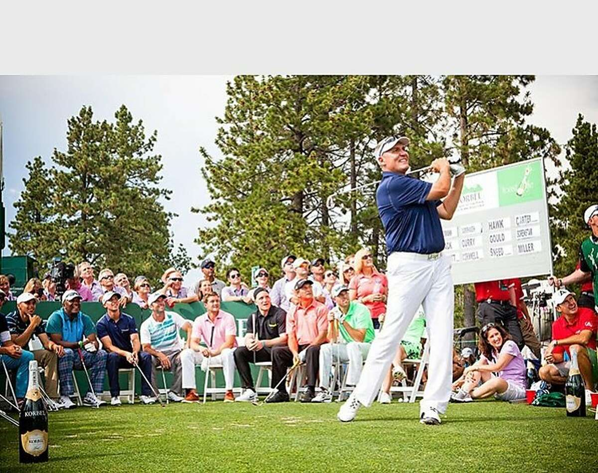 On July 18th, 15 of some of the world's most legendary athletes and entertainers competed in Lake Tahoe for the Korbel Closest-to-the-Pin Challenge as part of the American Century Championship, currently being played at the Edgewood Golf Course. NFL Former Pro Bowl Quarterback Mark Rypien took home the title after teeing off from Hole 17 and placing his ball just seven feet away from the pin winning a $5,000 donation for The Tahoe Fund from the Korbel Toast Life(R) Foundation. (PRNewsFoto/Korbel)
