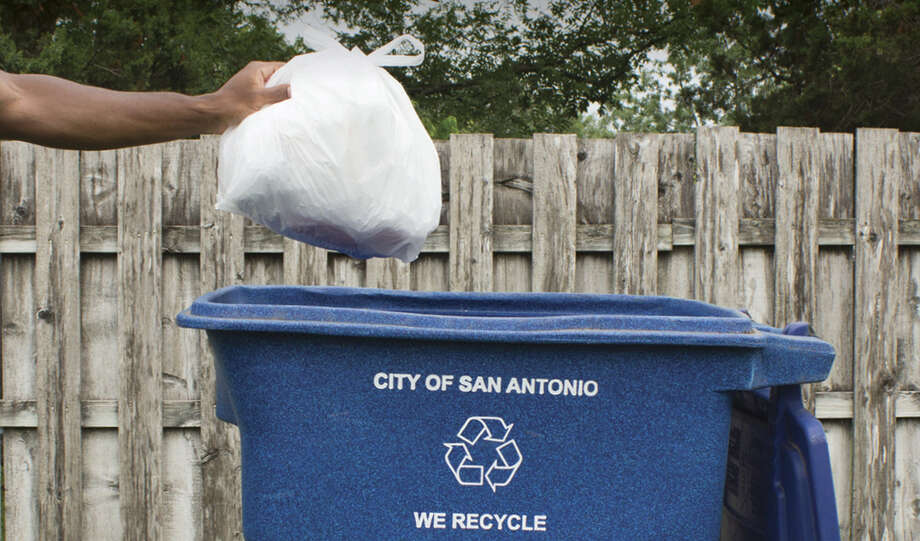 Starting on Aug. 1, the city's Solid Waste Management Department will accept plastic bags in blue recycling bins. Photo: Courtesy