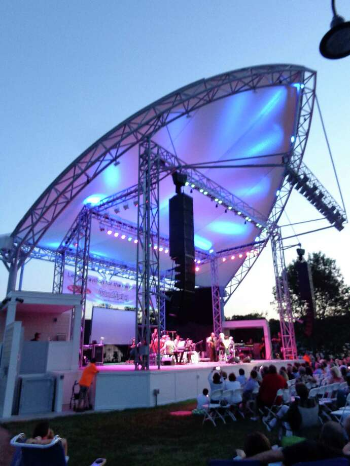The new Levitt Pavilion debuted Sunday night with a performance by singer-songwriter Jose Feliciano, attracting a crowd of several thousand people to its setting on the banks of the Saugatuck River. Photo: Meg Barone / Westport News