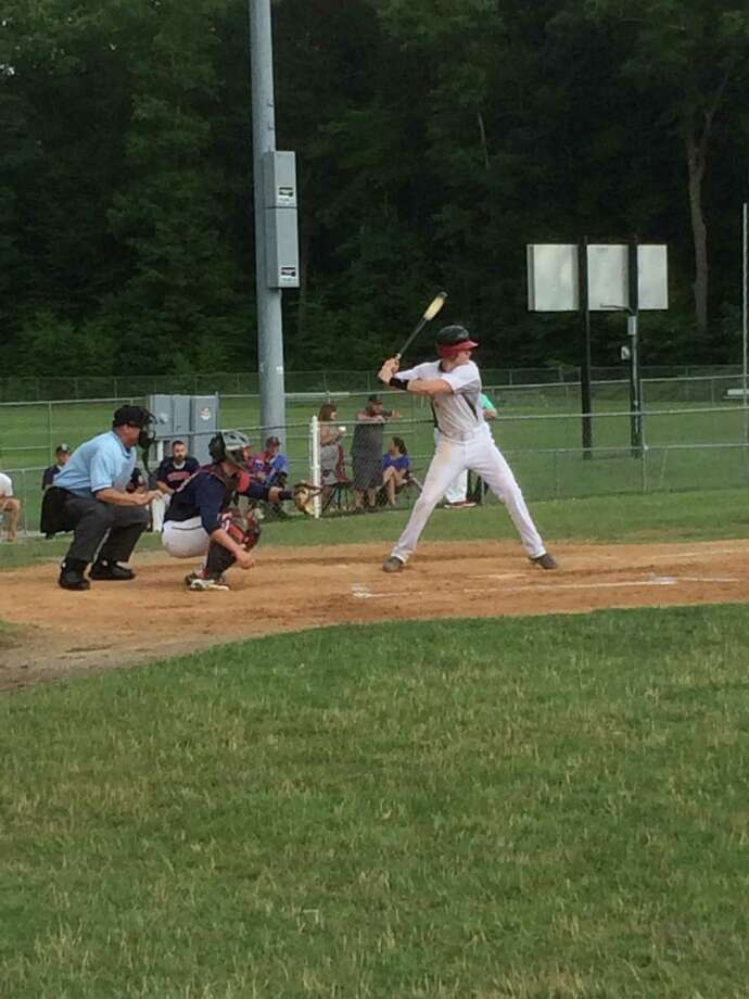 Darien-New Canaan Senior Legion right fielder Brian Moran readies to swing during a regular season game at Trumbull on Thursday, July 17. Photo: Andrew Callahan / Darien News