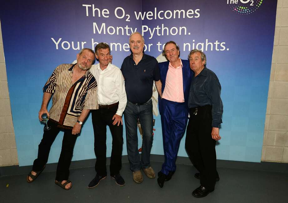 Michael Palin, Terry Gilliam, Eric Idle, John Cleese and Terry Jones attend the closing night after party for 'Monty Python Live (Mostly)' at The O2 Arena on July 20, 2014 in London, England. Photo: Dave J Hogan, Getty Images