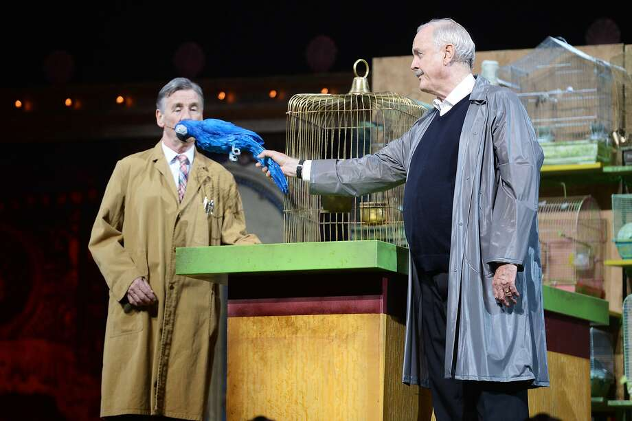 (L-R) Michael Palin and John Cleese perform on the closing night of 'Monty Python Live (Mostly)' at The O2 Arena on July 20, 2014 in London, England. Photo: Dave J Hogan, Getty Images
