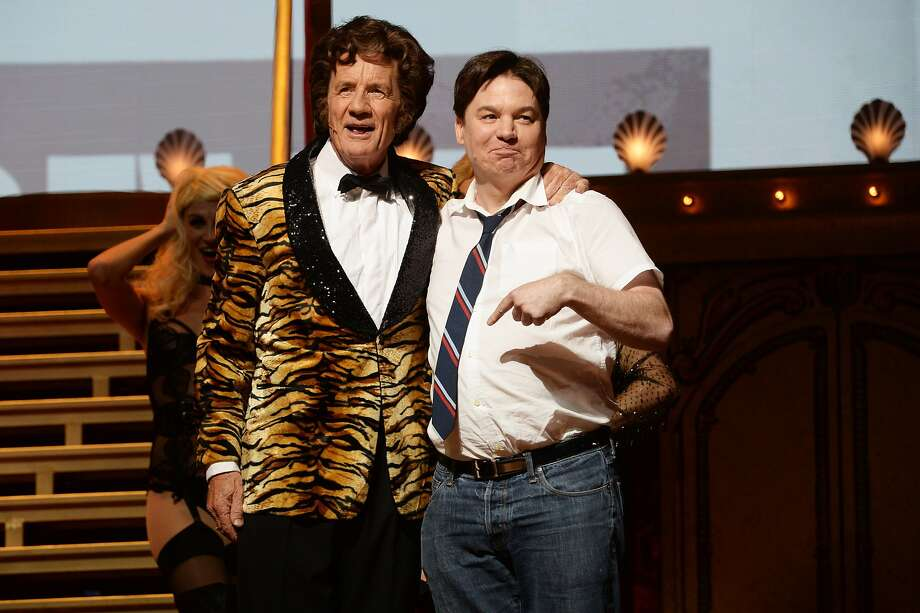 Michael Palin and Mike Myers perform on the closing night of 'Monty Python Live (Mostly)' at The O2 Arena on July 20, 2014 in London, England.  Photo: Dave J Hogan, Getty Images