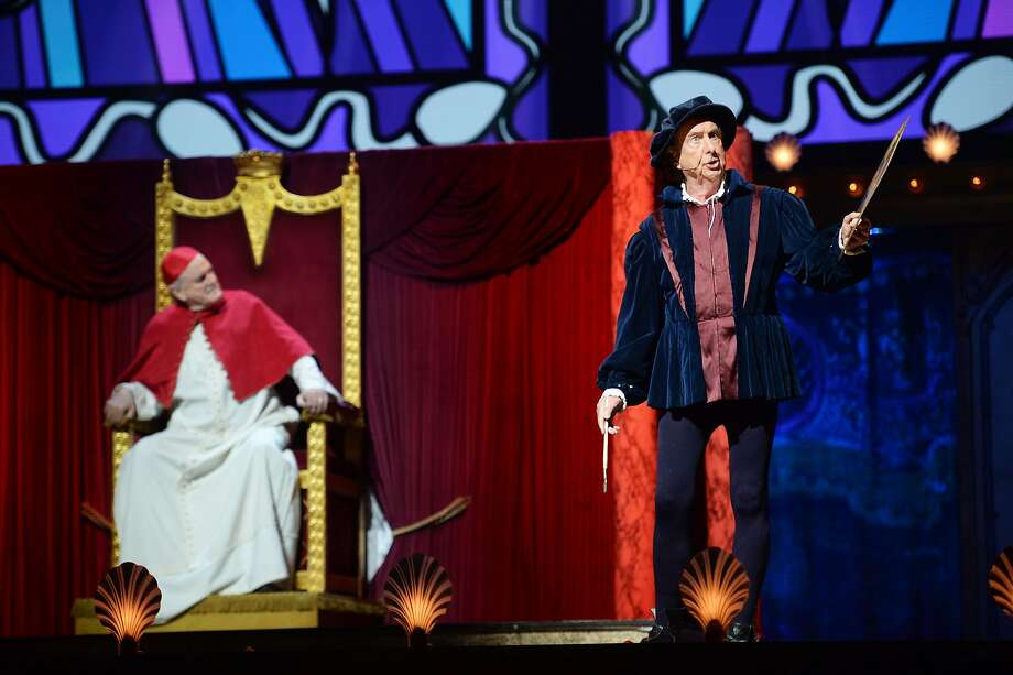 (L-R) John Cleese and Eric Idle perform on the closing night of 'Monty Python Live (Mostly)' at The O2 Arena on July 20, 2014 in London, England.  Photo: Dave J Hogan, Getty Images