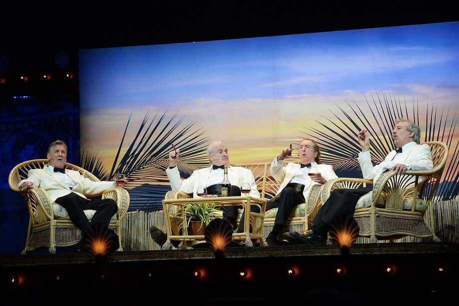 (L-R) Michael Palin, John Cleese, Eric Idle and Terry Jones perform on the closing night of 'Monty Python Live (Mostly)' at The O2 Arena on July 20, 2014 in London, England.  Photo: Dave J Hogan, Getty Images