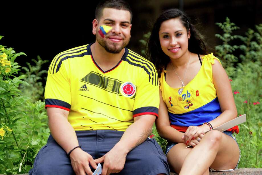 Families and friends showed off their Colombian heritage with yellow, blue and red colors at the Colombian Fest 2014 during the country's independence day, Sunday, July 20, 2014, in Houston. Photo: Marie D. De Jesus, Houston Chronicle / © 2014 Houston Chronicle