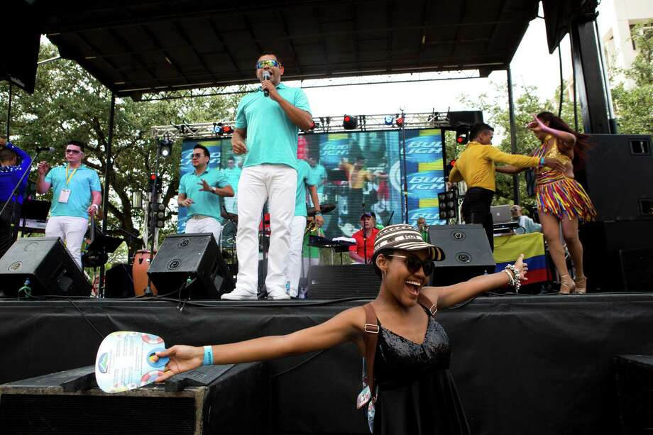 The Grupo Gale which was born in Colombia performance at the Colombian Fest 2014. The group mostly performs classic salsa but with a modern touch. Sunday, July 20, 2014, in Houston. Photo: Marie D. De Jesus, Houston Chronicle / © 2014 Houston Chronicle