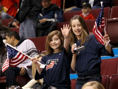 VANCOUVER, BC - FEBRUARY 18:  Young USA fans enjoy the pre-match atmosphere during the ice hockey men's preliminary game between USA and Norway on day 7 of the 2010 Winter Olympics at Canada Hockey Place on February 18, 2010 in Vancouver, Canada.  (Photo by Bruce Bennett/Getty Images) Photo: Bruce Bennett, Getty Images / 2010 Getty Images