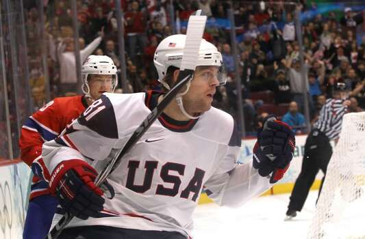 VANCOUVER, BC - FEBRUARY 18:  Phil Kessel of The United States celebrates after scoring the opening goal during the ice hockey men's preliminary game between USA and Norway on day 7 of the 2010 Winter Olympics at Canada Hockey Place on February 18, 2010 in Vancouver, Canada.  (Photo by Bruce Bennett/Getty Images) *** Local Caption *** Phil Kessel Photo: Bruce Bennett, Getty Images / 2010 Getty Images