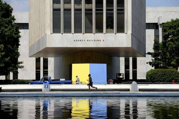"Ellsworth Kelly's ""Yellow Blue,"" 1968, provides a colorful focal point outside Agency Building 3 Monday lunchtime, July 21, 2014, at the Empire State Plaza in Albany, N.Y. (Will Waldron/Times Union) Photo: Will Waldron, Albany Times Union"
