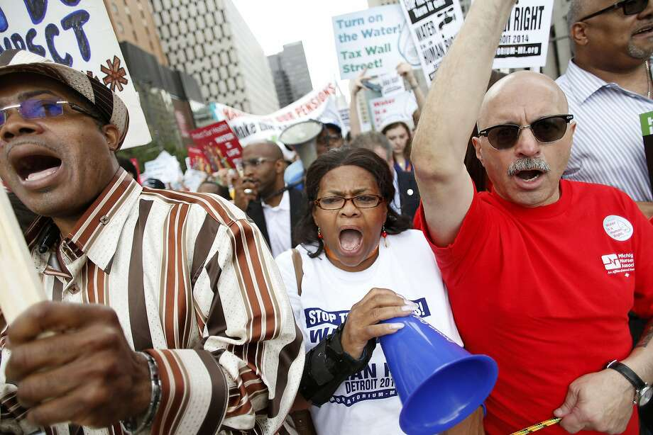Demonstrators protested last week against the Detroit Water and Sewer Department. Photo: Joshua Lott, Getty Images