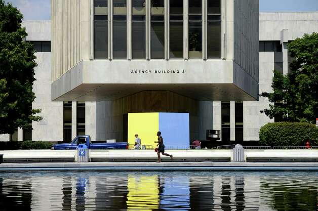 "Ellsworth Kelly's ""Yellow Blue,"" 1968, provides a colorful focal point outside Agency Building 3 Monday lunchtime, July 21, 2014, at the Empire State Plaza in Albany, N.Y. (Will Waldron/Times Union) Photo: WW"