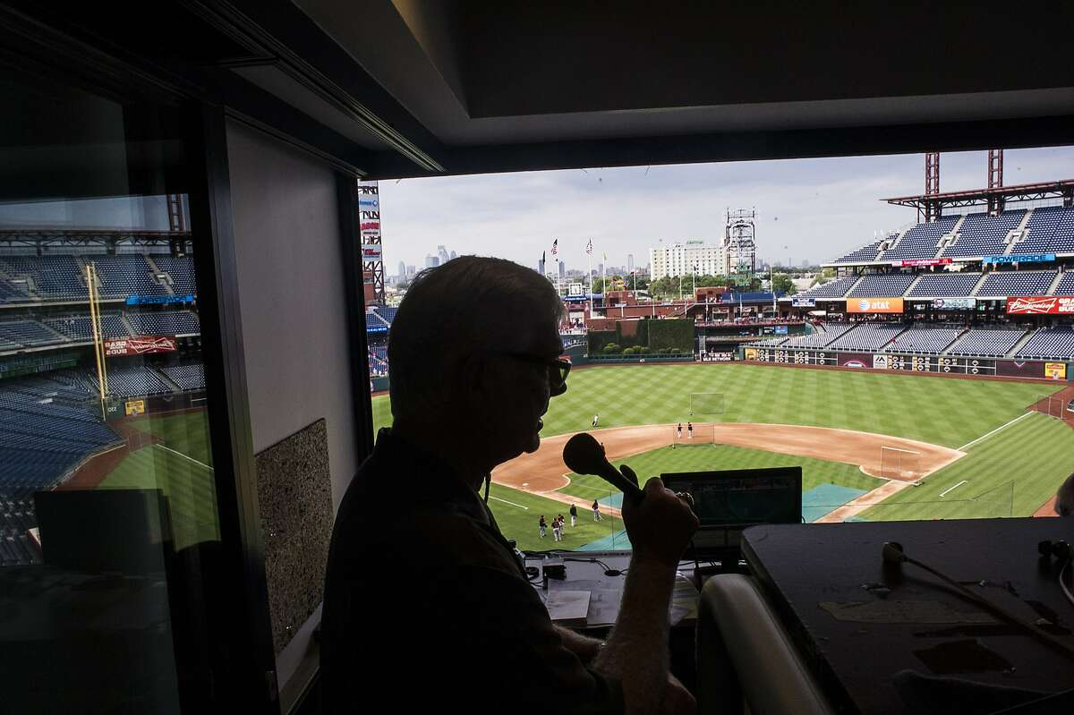 Mike Krukow, long-time television color commentator for the San Francisco Giants, does a pre-game radio commentary at Citizen's Bank Park in Philadelphia, PA, on July 21, 2014.