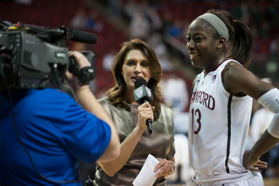 Pac-12 Networks announcer Anne Marie Anderson interviews Stanford's Chiney Ogwumike. Photo: Rod Mar, Pac-12 Networks
