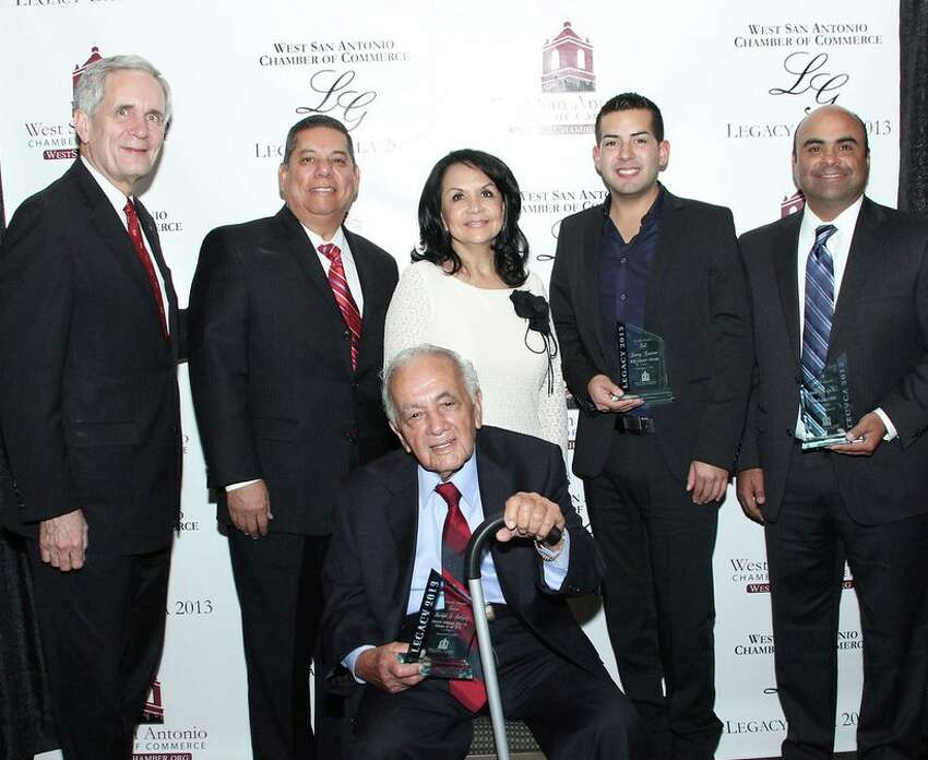 The West San Antonio Chamber of Commerce recently held its 2013 Legacy Gala honoring six West Side business leaders. Standing, left to right, are U.S. Rep. Lloyd Doggett, keynote speaker; award winners Leonard Lopez, Alicia Cendejas, Vincent Casiano and Ray Lopez. Seated in front is Deacon Rudolph R. Rodriguez