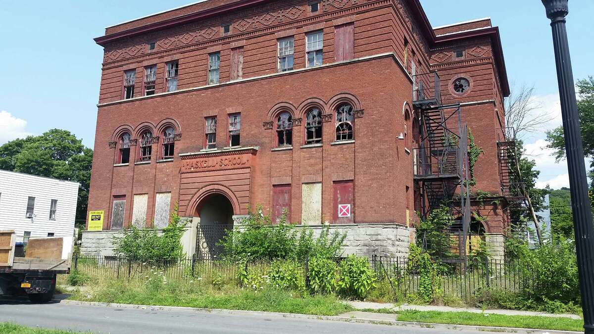 The former Haskell School property along Sixth Avenue in the Lansingburgh neighborhood of Troy. Neighbors are angry about the condition of the school. (Photo by Chris Churchill / Times Union)